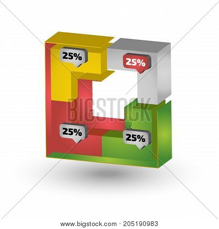 Color Square three dimensional chart for infographic