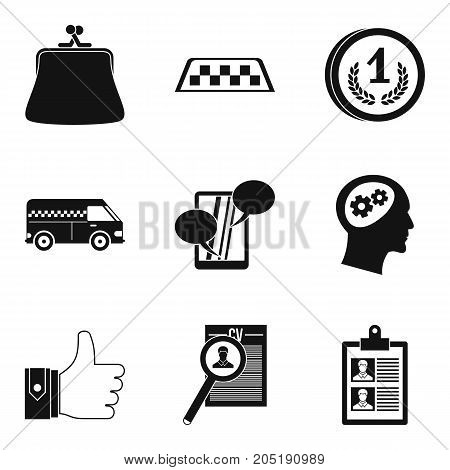 Private business icons set. Simple set of 9 private business vector icons for web isolated on white background