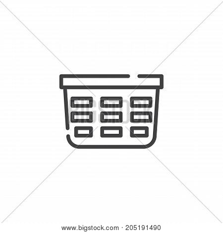 Laundry basket line icon, outline vector sign, linear style pictogram isolated on white. Symbol, logo illustration. Editable stroke