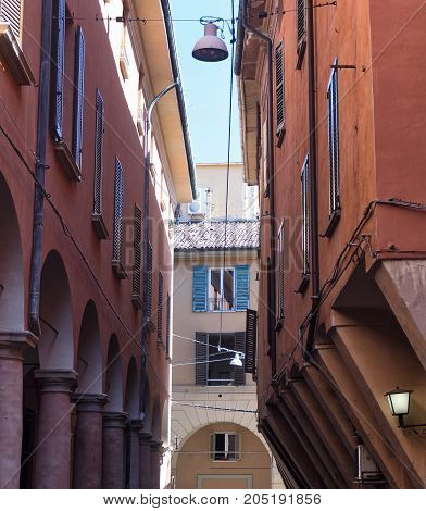 Bologna (Emilia Romagna Italy): a typical old street with portico