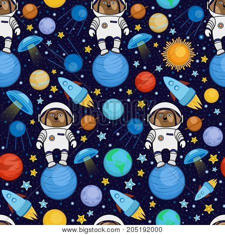 Colorful seamless cartoon space pattern with dog astronauts, rockets, planets, stars on starry night sky background, vector illustration. Cute space travel seamless pattern with dog astronaut
