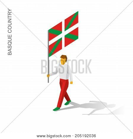 Isometric man with flag of Basque country (region in Spain). 3D standard bearer isolated on white background. Basque country patriot. Simple vector illustration for infographic.