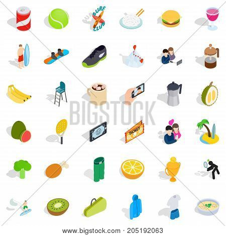 Dynamic icons set. Isometric style of 36 dynamic vector icons for web isolated on white background