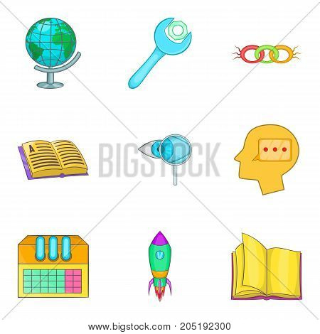 Smart people icons set. Cartoon set of 9 smart people vector icons for web isolated on white background