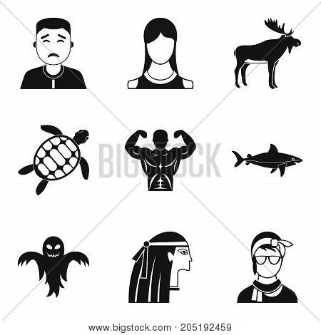 Personality icons set. Simple set of 9 personality vector icons for web isolated on white background