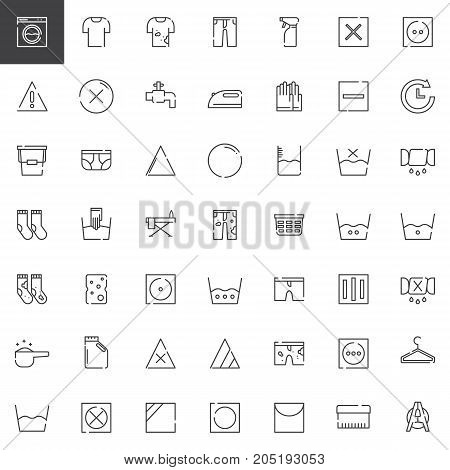 Laundry and dry cleaning line icons set, outline vector symbol collection, linear style pictogram pack. Signs, logo illustration. Set includes icons as washing machine, laundry bucket, iron, hanger