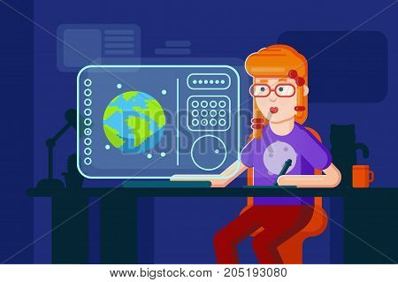 Girl designer vector flat illustration working process. Freelancer programmer works at the computer in night shift at home. Future technology device shows design process on the screen