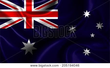 Realistic flag of Australia on the wavy surface of fabric. This flag can be used in design