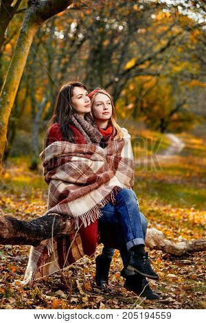 Two women basking with plaid in chill autumn park