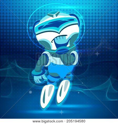 Bot Champion. Soaring up. Digital design in cartoon style. Blue tone.