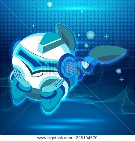 cute astronaut in space, working playing games and having fun. Astronaut in space suits with no gravity. vector images. Digital design in cartoon style. Blue tone.