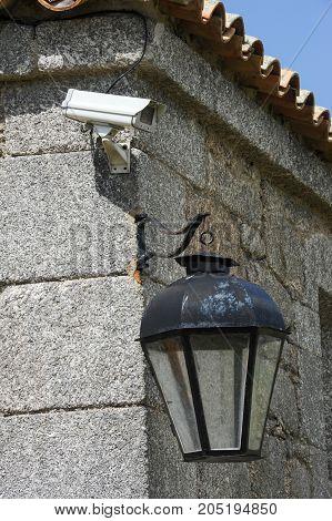 Vintage Lantern And Video Surveillance At Santa Teresa Colonial Fortress