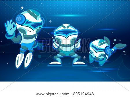 Five chatbots in different poses and moods. Digital design in cartoon style. Blue tone. vector illustration. Design for Website Element , Mobile websites and Apps.