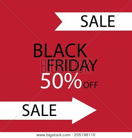 Black Friday Black fog and black friday on red background. Vector