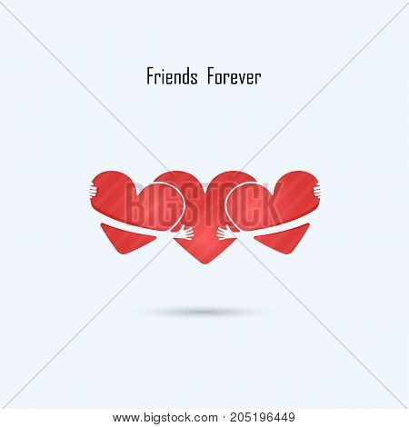 LOVE-HUG-FRIENDS FOREVER vector logo design template.Aid & love icon.Wedding logo.Bridegroom & Bride icon idea concept.Family, man & woman, boy & girl, Boyfriend & girlfriend sign.Love & Heart Care logo.Vector illustration