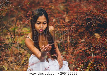 Fashion gorgeous young woman in beautiful white dress in a fairy-tale forest. magic atmosphere