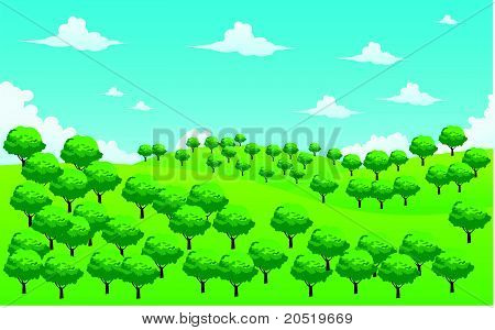 Landscape Forest Illustration Vector