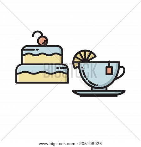 Cake and tea cup, bakery, confectionary shop, chocolate house thin line flat style icon, vector illustration isolated on white background. Flat style thin line icon of birthday cake and cup of tea