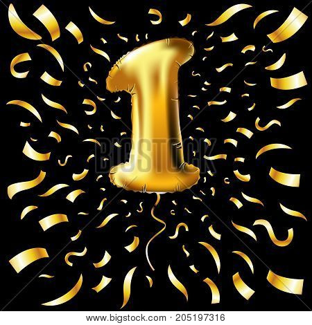 Golden Number One 1 First Metallic Balloon. Party Decoration Golden Balloons. Anniversary Sign For H