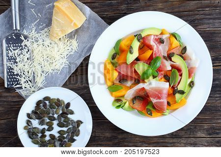 Tasty Prosciutto, Tomato, Avocado, Seeds Salad