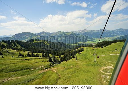 Mountain trail in the Tyrolean Alps in birds-eye view