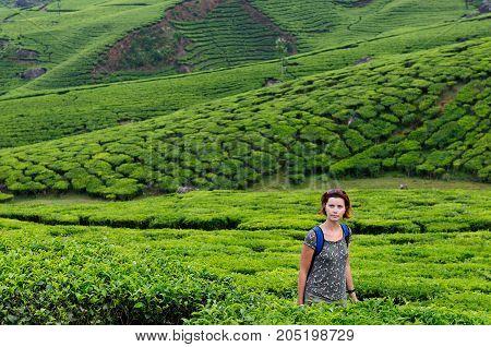 Tourist on the trip on tea plantations