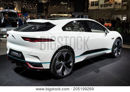 FRANKFURT GERMANY - SEP 12 2017: New 2018 Jaguar I-Pace concept electric SUV car showcased at the Frankfurt IAA Motor Show 2017.