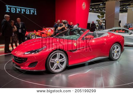 FRANKFURT GERMANY - SEP 13 2017: New Ferrari Portofino sports car debut at the Frankfurt IAA Motor Show 2017.