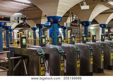 Hoboken NJ USA -- September 19 2017 --Entry turnstiles to the PATH Tubes in Hoboken. Editorial use only.