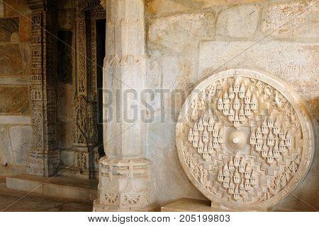 View inside the Jain Rangamba Mai Mandir Temple in Ranakpur Rajasthan India