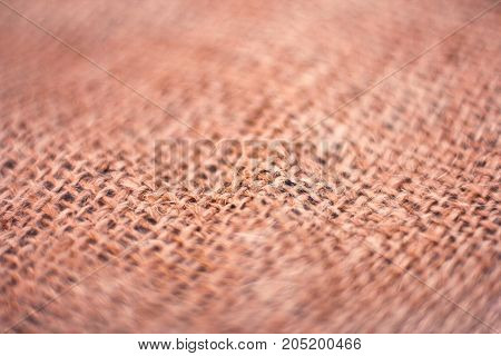 Background of a brown burlap. Macro. Selective focus