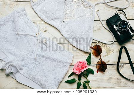 Fashion Summer girl clothes Set with camera and Accessories. summer Outfit.Trendy fashion Sunglasses flowers. Summer lady Essentials. Creative Design. Fashion Urban Concept