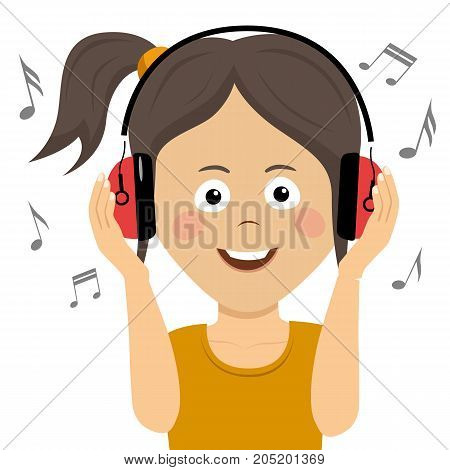 Cute funny teenager girl listening to music with headphones