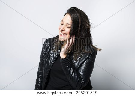 A Beautiful portrait isolated on white of woman wearing with black clothes