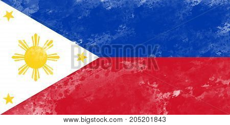 Flag of Philippines by watercolor paint brush grunge style