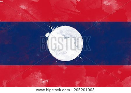 Flag of Laos by watercolor paint brush grunge style