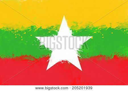 Flag of Myanmar by watercolor paint brush grunge style