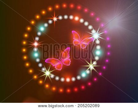 Glowing background with magic butterflies and sparkling stars