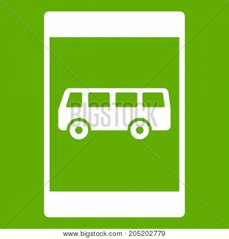 Bus stop sign icon white isolated on green background. Vector illustration