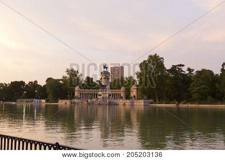 Retiro Park In Madrid, Spain. Parque Del Buen Retiro - Park Of The Pleasant Retreat