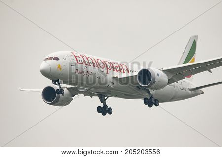 BANGKOK THAILAND - SEP222017 : boeing 787 dreamliner of ethiopia airlines plane approaching for landing to suvarnabhumi airport