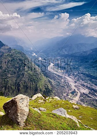 Aerial view of Kullu valley. Naggar Himachal Pradesh. North India.