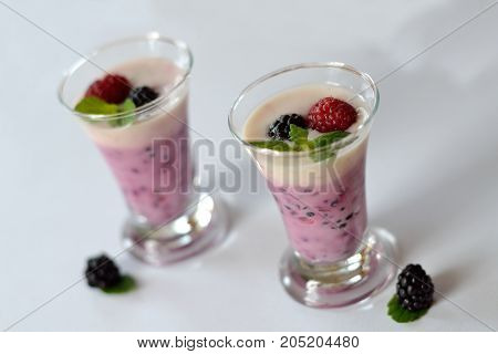 deliciously prepared fruit yoghurt with berries - released