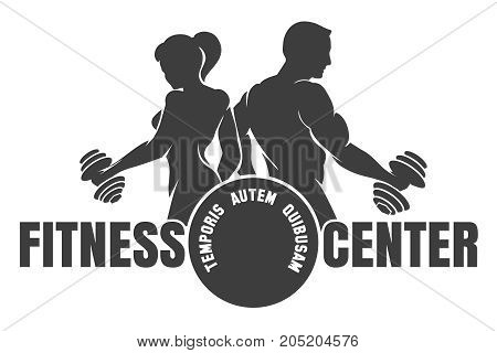 Fitness club logo with exercising athletic man and woman isolated on white vector illustration