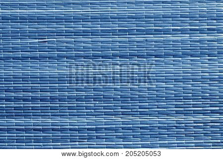 Blue Color Straw Mat Surface.