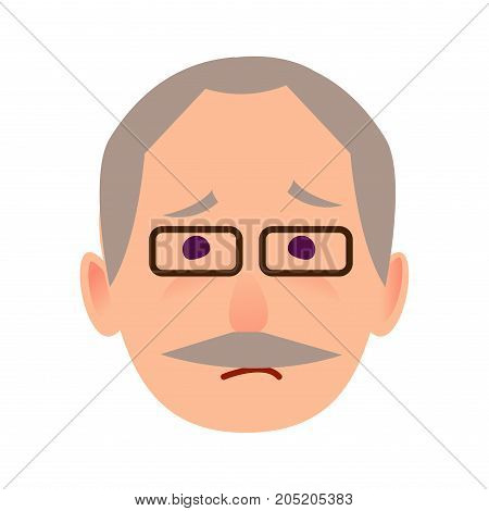 Sad old man face icon. Grey-haired, mustached grandpa in glasses with unhappy facial expression flat vector isolated on white. Pensioner cartoon emotive portrait for user avatar illustration