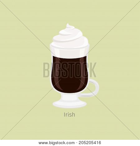 Glass irish mug with aromatic coffee flat vector. Hot invigorating drink with caffeine. Cocktail with alcohol, black coffee and ice cream or whipped cream on top illustration for web, cafe menus