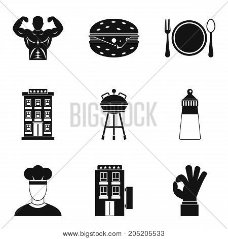 Barbecue for party icons set. Simple set of 9 barbecue for party vector icons for web isolated on white background