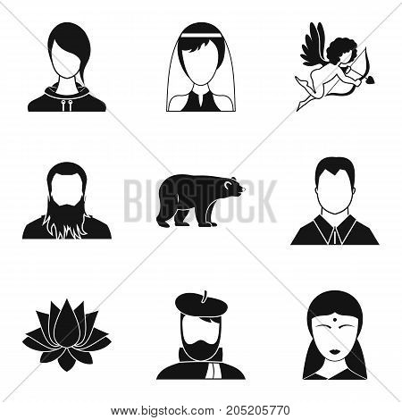 Relatives icons set. Simple set of 9 relatives vector icons for web isolated on white background