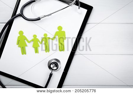 family health and life insurance concept. copy space